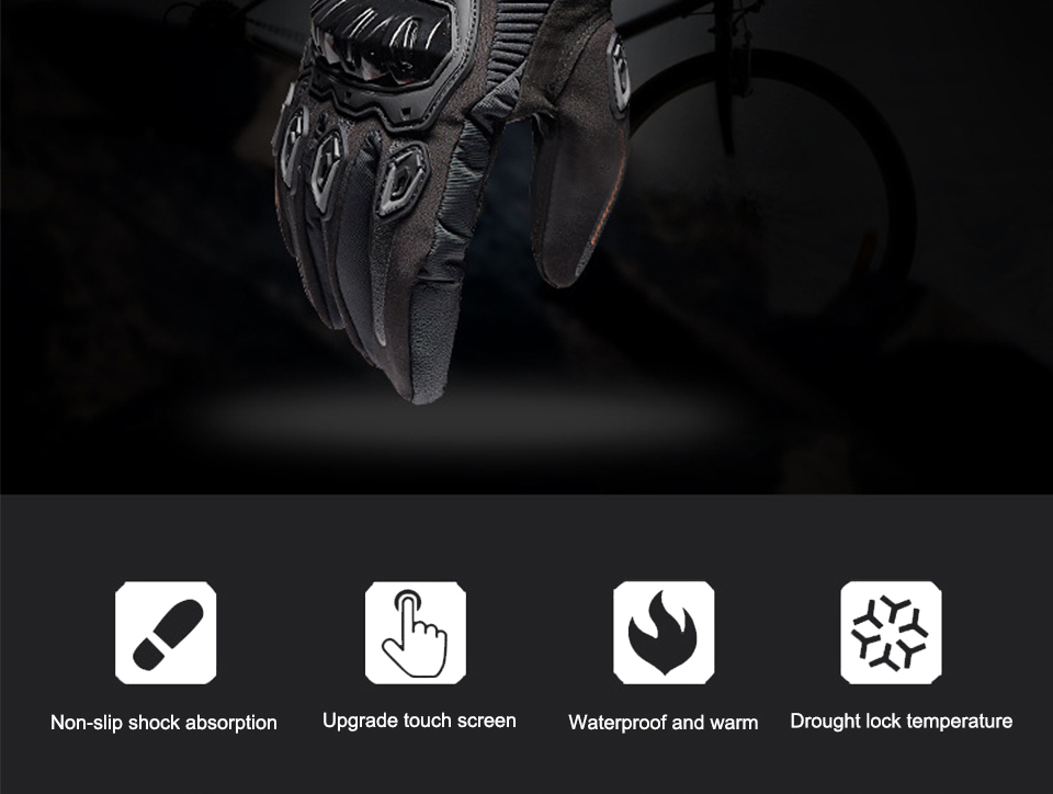 Foxcncar motorcycle gloves 100% Waterproof windproof Winter warm Guantes Moto Luvas Touch Screen Motosiklet Eldiveni Protective (2)
