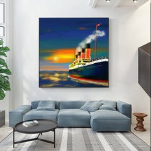 Abstract Painting Ship Poster Sea Ocean Sailing Boat Canvas Printings Wall Pictures for Living Room Bedroom Home Decor(China)