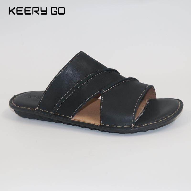 Sandálias Tomada Chegada Feitos Mão black Dos À Couro Da brown Preto Fábrica Novos marrom De Homens w0xr0SY4q