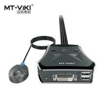 MT-VIKI New Design MT-VIKI 2 Port DVI KVM Switch USB with Smart Manual Desktop Extension Switcher and Original Cable 201DL