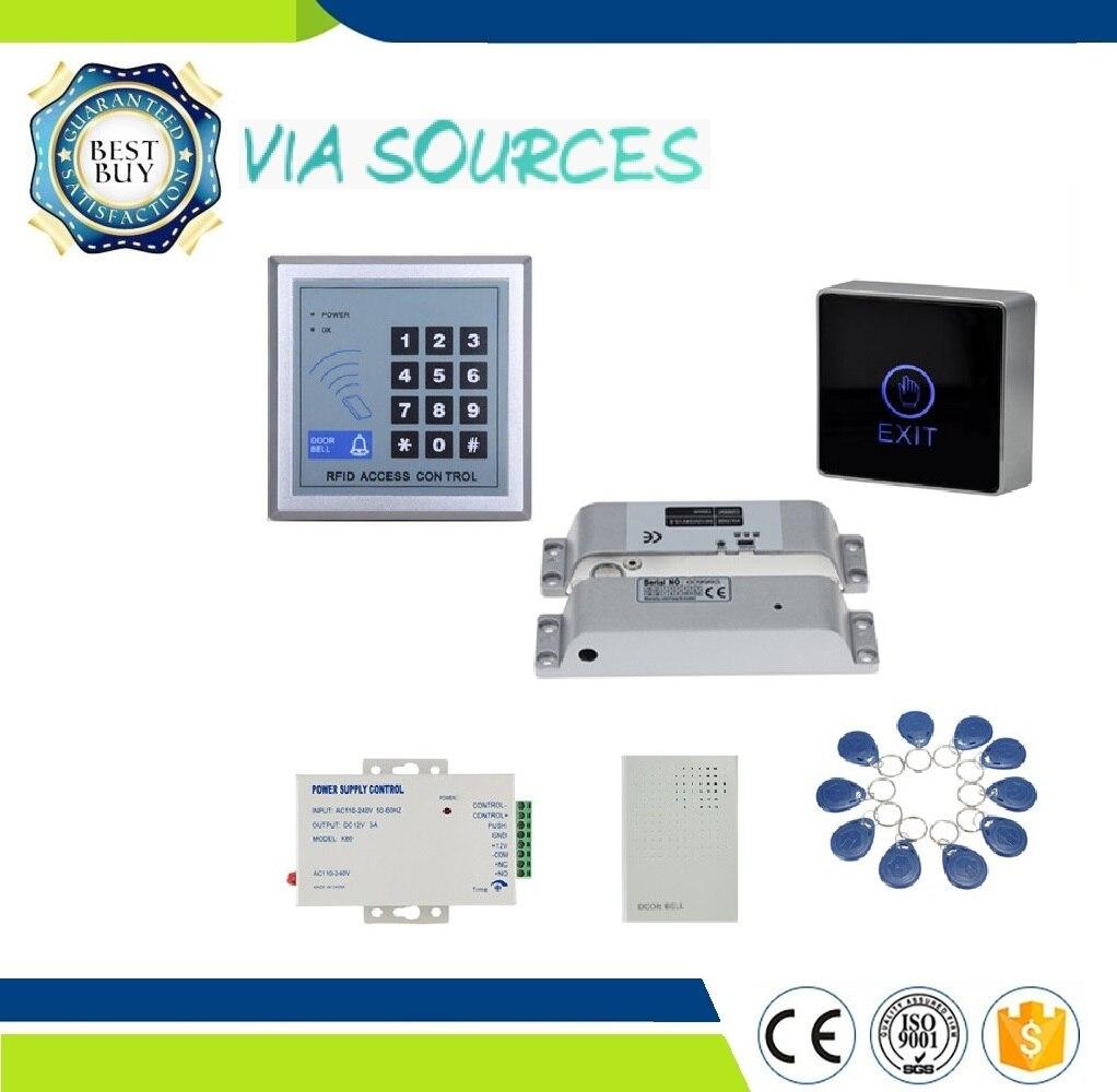 Direct usine goutte boulon électrique aimant serrure alimentation clavier étiquettes sonnette RFID électrique porte système de contrôle d'accès Kit