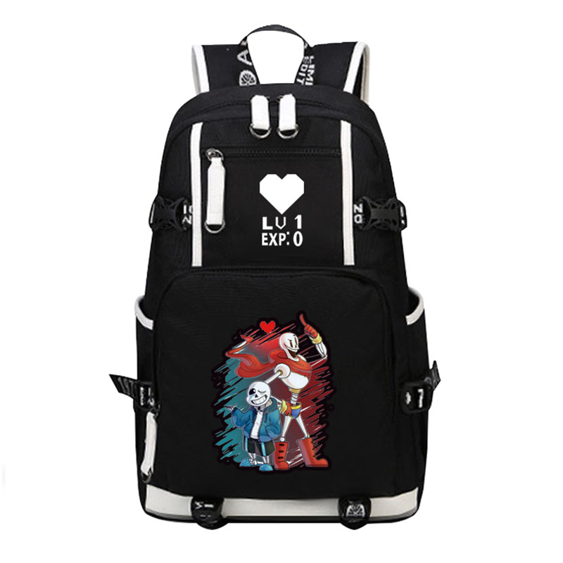New Game Undertale Sans Papyrus Skeleton Brothers Printing Backpack Canvas School Bags Travel Laptop Backpack Undertale Rucksack