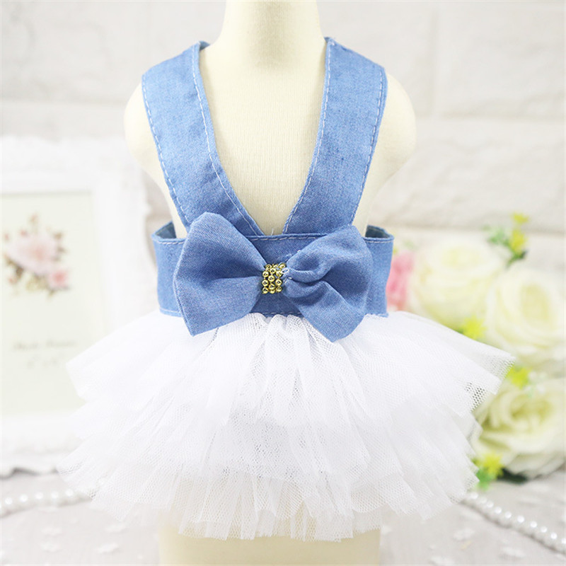 2019 Pet Clothes Sweet Bowknot Small Dog Skirt Girl Tutu Clothing Puppy Cat Sleeveless Apparel Teddy Clothes Harness AprT3 (1)