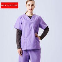New Women Surgical Hospital Scrub Sets Doctor Nurse Uniforms Dental Clinic Beauty Salon Medical Scrubs Short Sleeve Work Wear