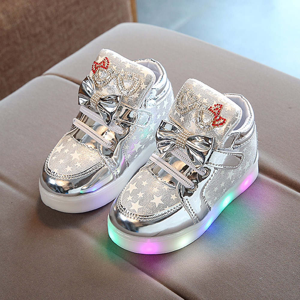 Baby Girls Colorful Light Shoes Star LED Luminous Crystal Sneakers Child Toddler Kids Boys Casual Walking Boots