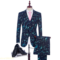 2018 Classic England 3 Piece Jacquard Mens Suits Luxury Costume Mariage Homme Mens Suits With Pants Vintage Prom Suit British