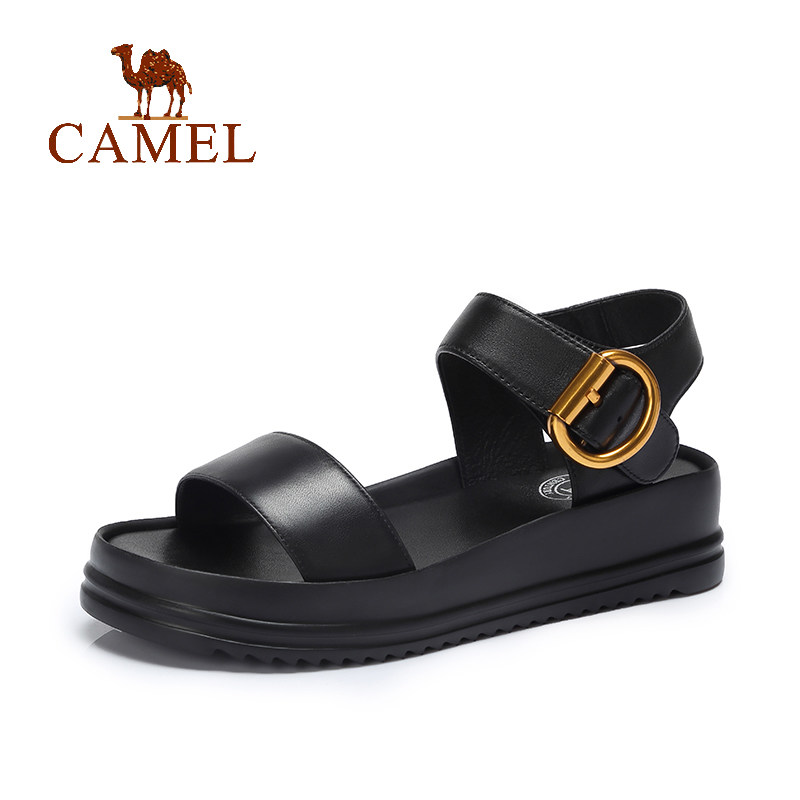 CAMEL New Fashion Sandals Women Casual Retro Buckle Genuine Cow Leather Platform Wedges Sandals Ladies Soft Elegant Exposed Toe CAMEL New Fashion Sandals Women Casual Retro Buckle Genuine Cow Leather Platform Wedges Sandals Ladies Soft Elegant Exposed Toe