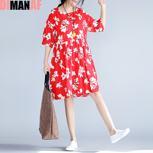 ef4d5912887 2017 New Women Dress Summer Floral Print Female Big Size Loose Linen  Fashion Red Tops Vintage Elegant O-Neck Holiday Dresses