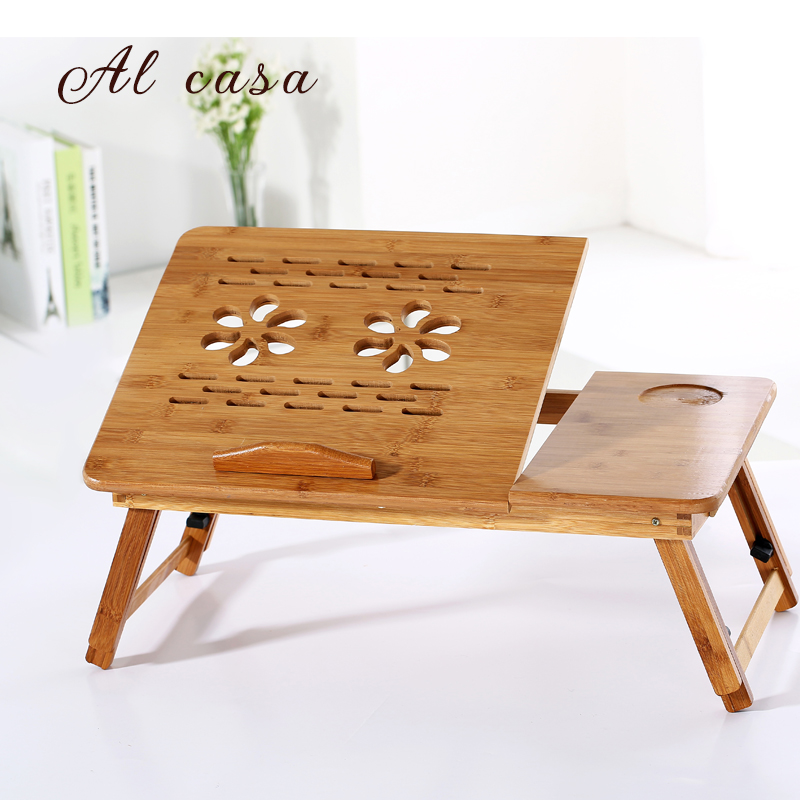 creative Portable Folding Laptop Table Sofa Bed Office Laptop Stand small ipad Desk with Double Cooler For Notebook Bamboo