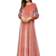 Мусульманское женское платье с длинным рукавом, бархатное, с вышивкой, Дубай, макси, abaya jalabiya, Исламская одежда для женщин, халат, кафтан, Марокканское, 7251
