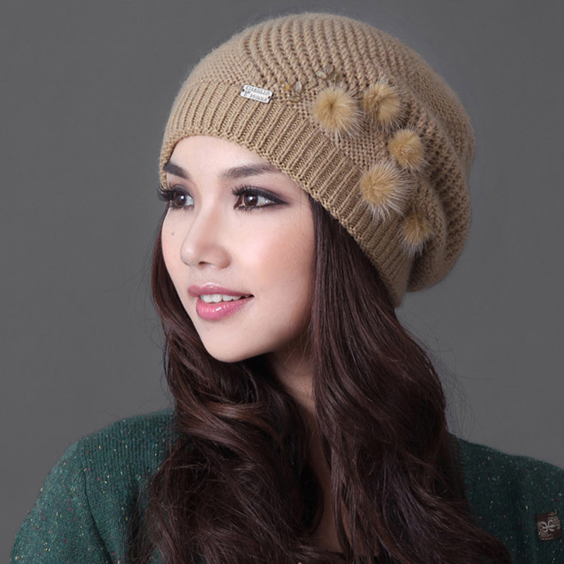 24318ea9 Nuevas mujer invierno gorros de punto sombreros para mujer de piel ...