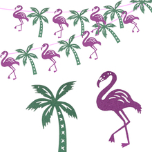 Omilut 10pcs Tropical Party Banner Flamingo Birthday Decor Summer Coconut Tree Bright Powder Paper Supplie