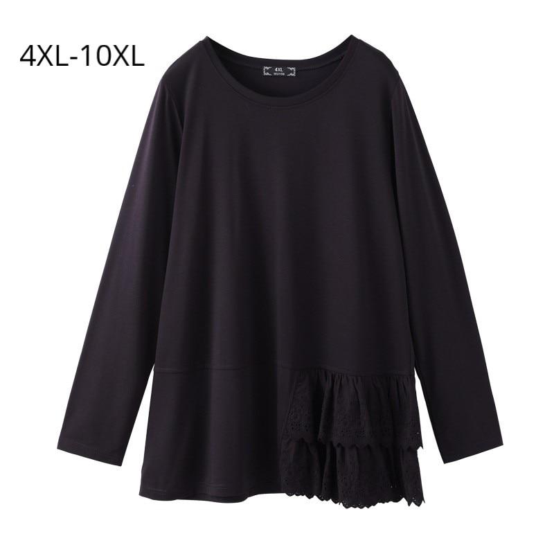 Grande taille 10XL 9XL 8XL 4XL femmes printemps manches longues chemise femme irrégulière bas noir basique Tee-shirts hauts slim Feminina