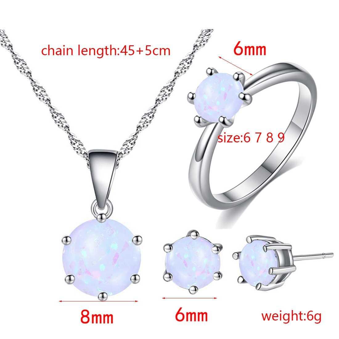 Beiver Opal Schmuck Für Frauen Runde Form Anhänger Ring Mode Silber Farbe Kette Ohrringe Ring Sets Hochzeit Partei Schmuck