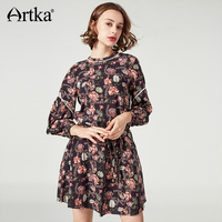 Artka Women S Summer Dress Long Sleeve Print Dress Female Lantern Sleeve Dress With Belt Vintage