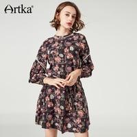 Artka Women S Autumn Dress Long Sleeve Print Dress Female Lantern Sleeve Dress With Belt Vintage