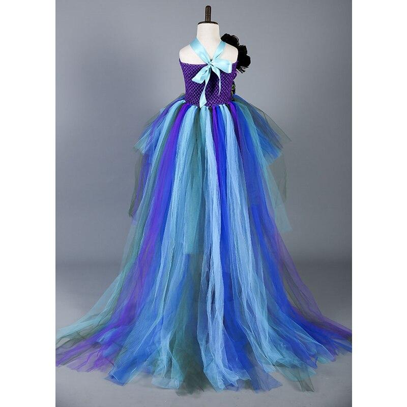 Boutique plume fleur fille robe de soirée robes de mode Train paon filles robes d'anniversaire enfants vêtements de noël W049 - 3