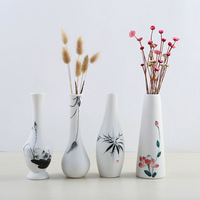 Pure Hand painted Chinese White Matt Water Culture Flower Tea Table Countertop Creative Vase Decoration Vases Decoration Home