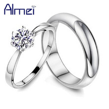 Almei Zircon Couple Rings Men/Women Silver Color Fianit Jewelry Women's Ring With Crystal Bijoux Femme Lover Gift Sizing J063