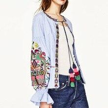 Летние стили Горячих Женщин emboridery Цветочный Печати Кимоно Кардиган Повседневная полосатый блузка рубашка Дамы кардиган Топы