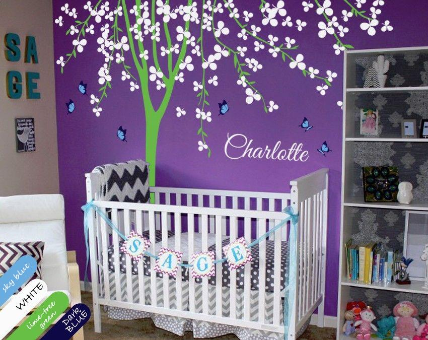 nursery tree wall decal personalized baby name butterflies stickers