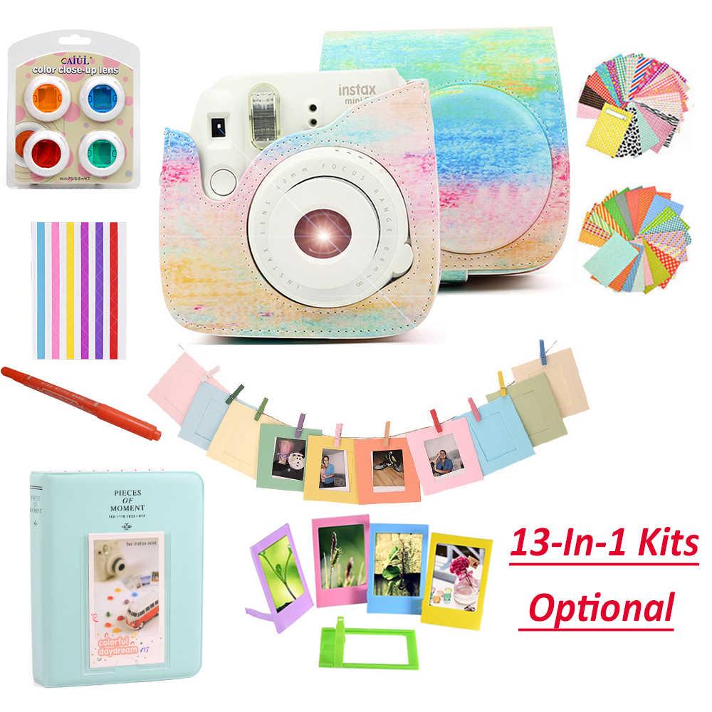 كاميرا Fujifilm instax Mini 9 أرجواني/وردي/أصفر مع 50 ورقة instax mini film photo/13 في 1 عدة ملحقات حقيبة حافظة
