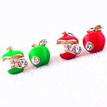 Hot Selling New Style Lovely Apple 2 colors Cute green red Stud Earring CRYSTAL SHOP Free