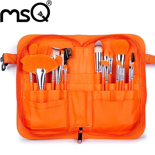 MSQ Profissional 24 pcs Pincéis de Maquiagem Definir Cabelo Sintético Macio Punho de Madeira Com PU Estojo De Couro Para A Mulher Fashion
