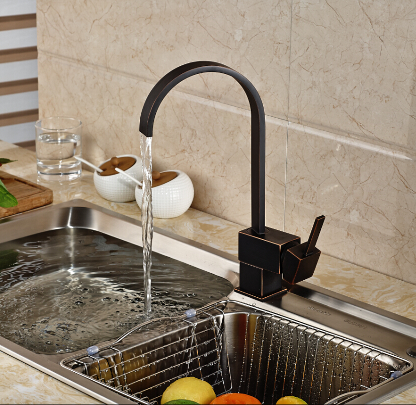 New Design Square Waterfall Kitchen Faucet Brass Swivel Kitchen Sink ...