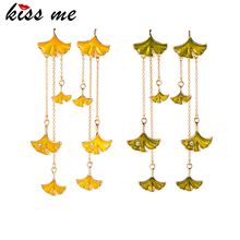 kissme Two-tone Enamel Crystal Ginkgo Leaves Different Length Chain Tassel Drop Earrings For Women Gifts New Fashion Accessories tassel decor two tone shopper bag