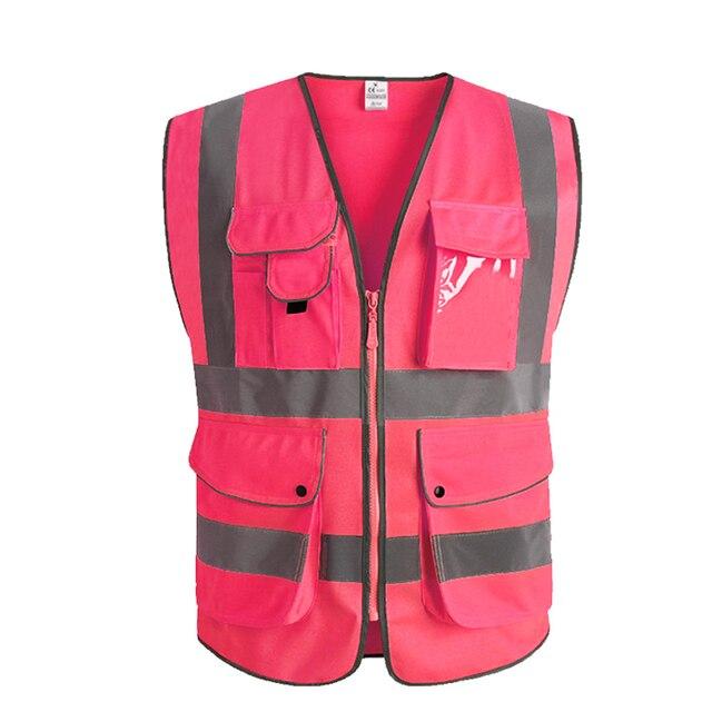 Розовый женский жилет безопасности с карманами Высокая Видимость спецодежды