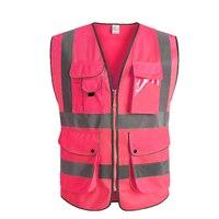 Розовый женский жилет с карманами Спецодежда высокой видимости