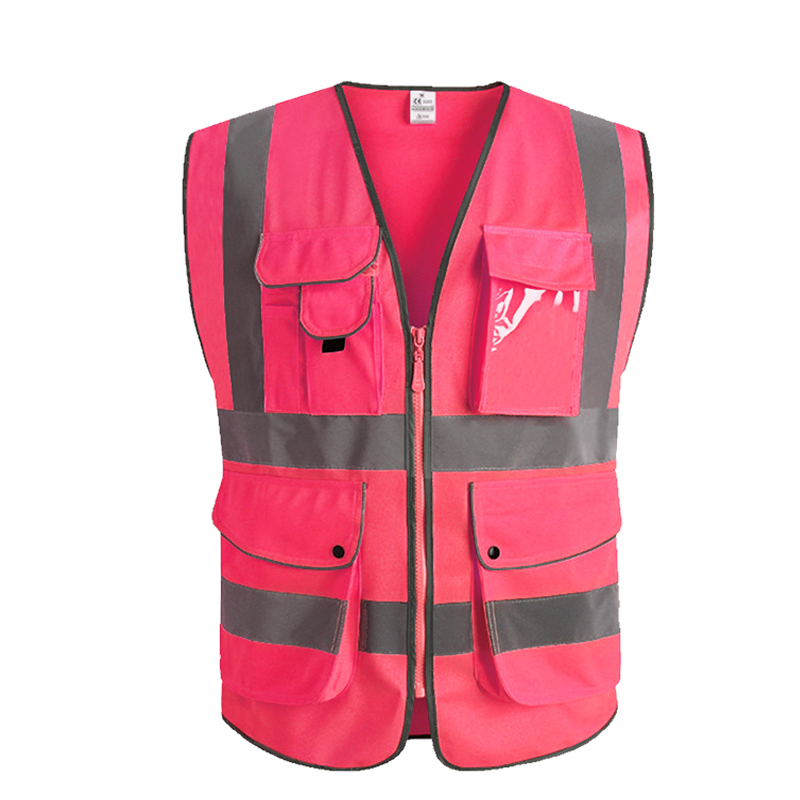 Pink Women Safety Vest With Pockets High Visibility Workwear