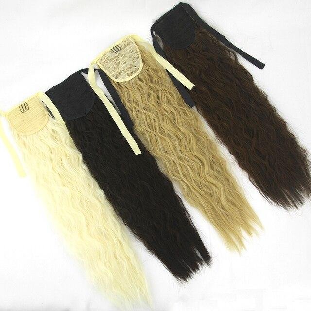 Soowee largo pelo rizado cola de Pony Hairpieces cordón Cola de Caballo extensión de pelo sintético pelo de caballo en horquillas