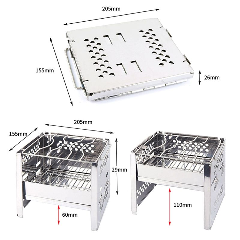 Portable Stainless Steel BBQ Barbecue Grill Folding Charcoal Accessories for Outdoor Camping Patio Stove in BBQ Grills from Home Garden