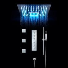 Роскошный душ для ванной кран Набор 16 дюймов дождя светодиодный свет встроенный, потолочный термостатический клапан водопад Showerhead туманный
