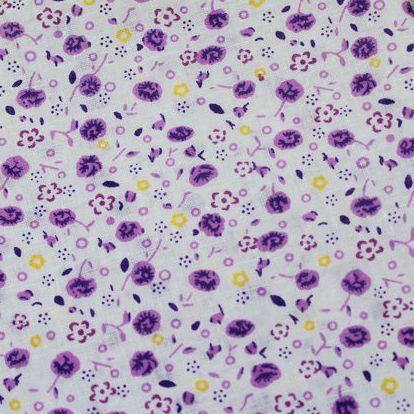 1 Pezzo 50*50 Cm 100% Cotone Viola Fiori Stampati Bianco Backgroud Per Quilting, Tilda Cloth, Tessuto Per Portafogli Pb030 Volume Grande