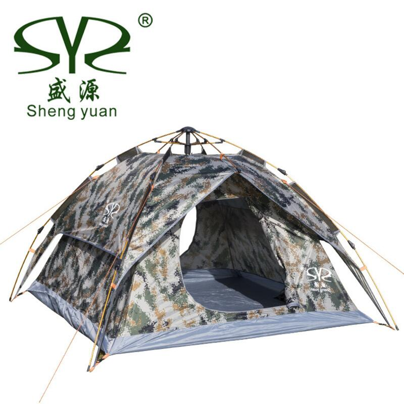 Camouflage Automatic Camping Tents For Hunting Fishing 3 - 4 Person Family Party Double Layer Multifunction Beach Outdoor Tent outdoor camping hiking automatic camping tent 4person double layer family tent sun shelter gazebo beach tent awning tourist tent