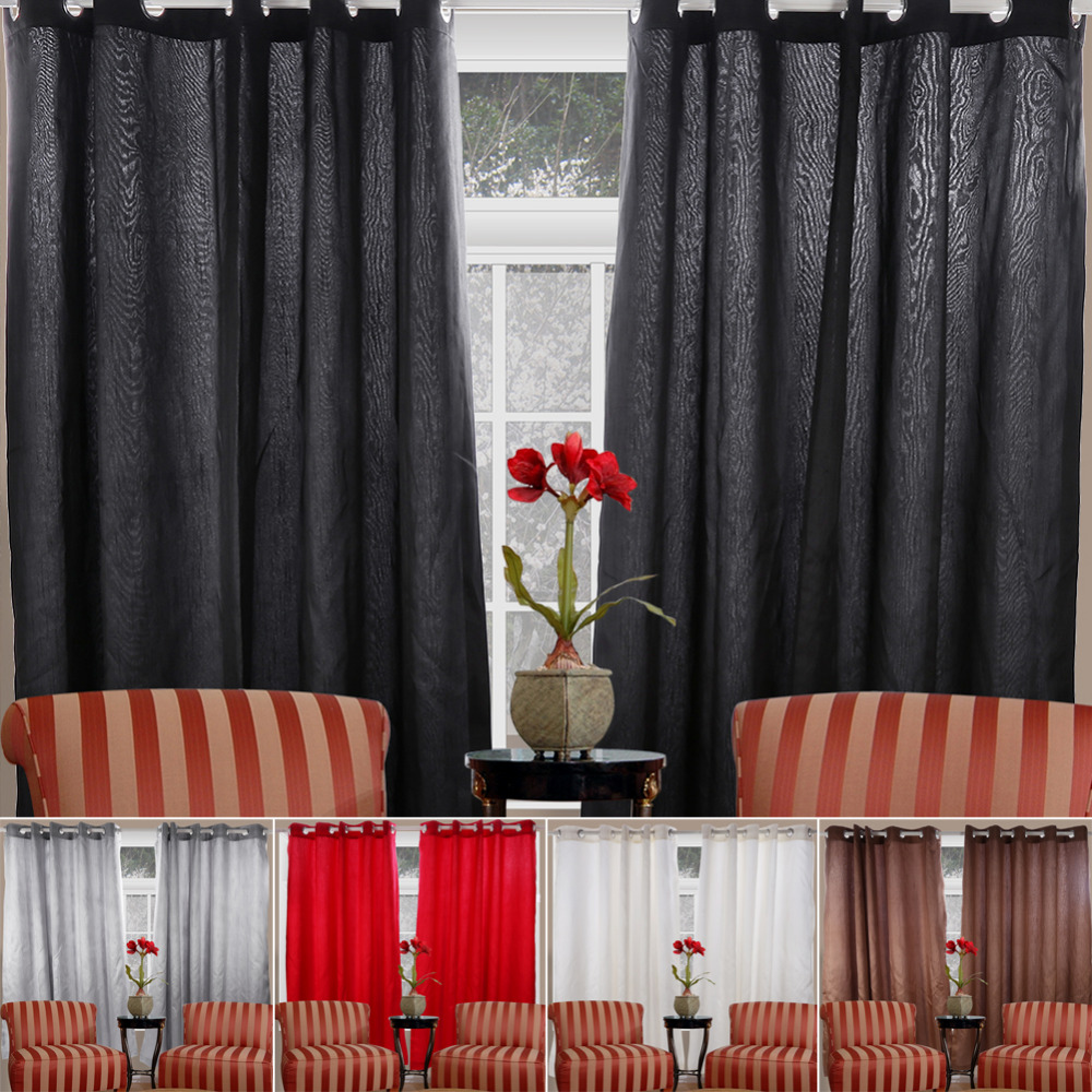 90X 90 Faux Silk Fabric Fully Lined Kitchen Curtains Pleat Eyelet Ring Top