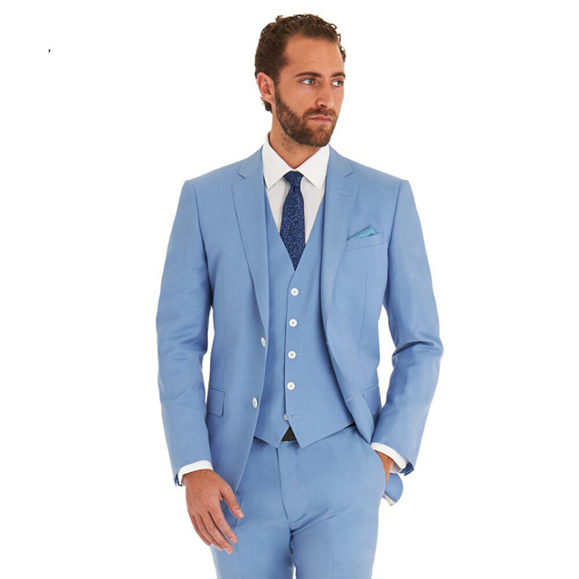 HB075 Hot Selling Sky Blue Business Mens Suits 3 Pieces (Jacket+ ...