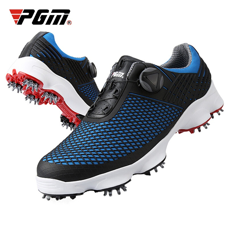 Pgm Outdoor Men Golf Shoes Men Waterproof Breathable Rotating Buckle Sneakers Non-Slip Spikes Golf Shoes Size 39-44 D0575