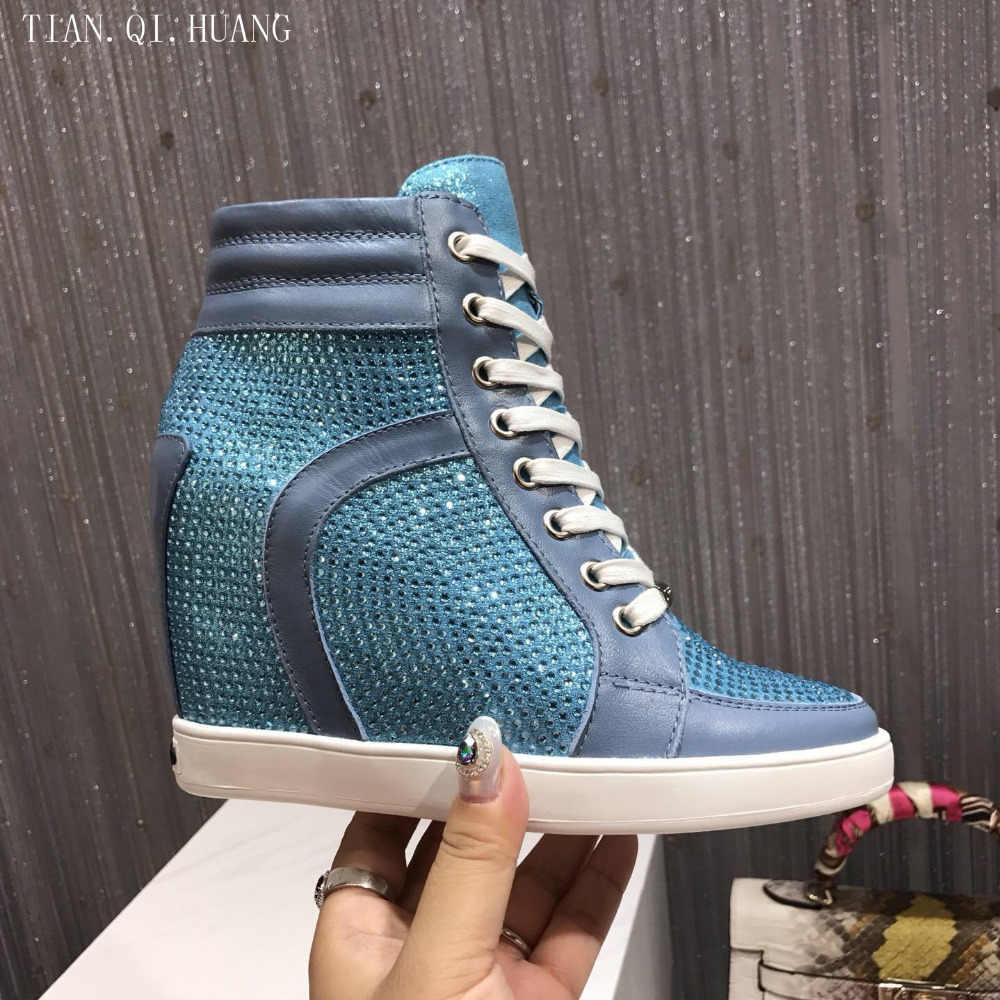 Echtes Leder Erhöhte Freizeitschuhe Frauen Strass Mode Design Hochwertige Classics Schuhe Frau Marke TIAN. QI. HUANG