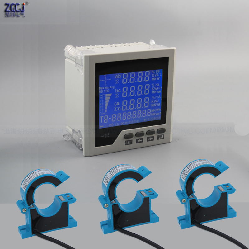 3 phase LCD multifunction meter power factor power energy KWh AC 100A 200A 300A 400A 500A