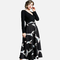 New Spring Autumn Maxi Dress Elegant Ladies Sexy V Neck Party Dress Women Patchwork Crane Printing