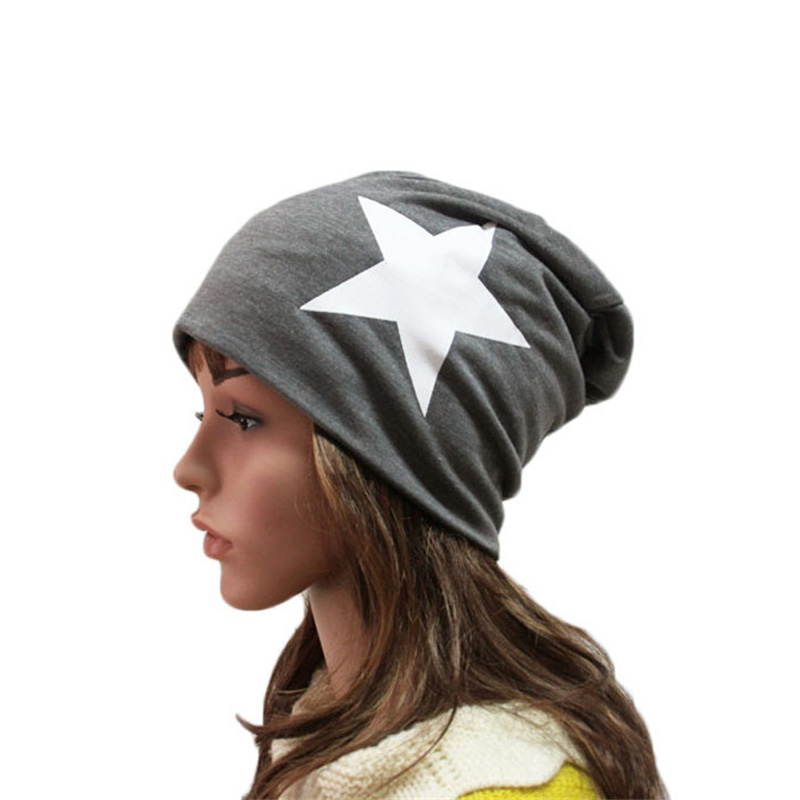 SexeMara 2017 Women's Skullies Beanies Fashion Knitted Hat High Quality Red White Star Pattren Beanie Hats SCA20101 skullies