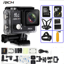 """RICH Action Camera Pro4 Ultra HD 4K 30 FPS 1080p 2.0"""" WiFi 170 Wide Lens 45M Waterproof Time Lapse Video Sports Camera"""