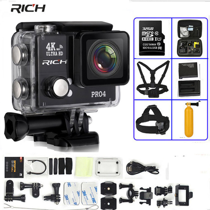 RICH Action Camera Pro4 Ultra HD 4K 30 FPS 1080p 2.0 WiFi 170 Wide Lens 45M Waterproof Time Lapse Video Sports Camera