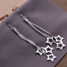 Wholesale High Quality Jewelry 925 jewelry silver plated Triple Hollow Star Earrings for Women best gift SMTE161
