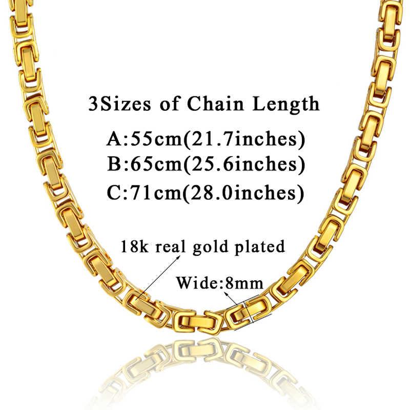 Męskie grube srebrne łańcuszki świetnie zagrywa mężczyzna bizantyjski Link Chain naszyjnik 8MM ze stali nierdzewnej złoty kolor połączony łańcuch dla mężczyzn biżuteria damska