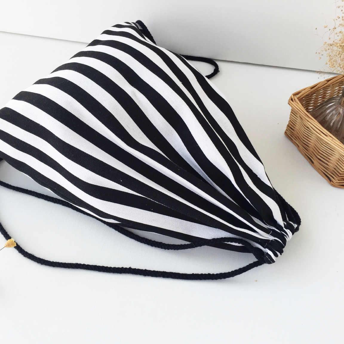 Moda de Algodão da Listra & linho Sacos De Armazenamento Ao Ar Livre para Viajar Praia Sapato Lavanderia Maquiagem Bolsa Softback Homem Mulheres Saco de Cordão